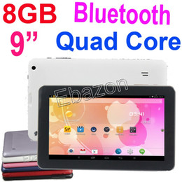Wholesale 9 Inch A33 Allwinner Tablet PC Quad Core GHz Google Android Bluetooth M DDR3 GB Dual Camera Wifi Multi touch Skype V90