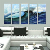 Cheap High Quality Large Canvas Modern Art Ocean Waves Landscape Oil Painting White Navy Blue Sea Home Decoration Picture Wall 5 Panel