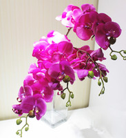venda por atacado artificial flowers wholesale-PU Phalaenopsis real toque de borboleta Orchid 6pcs 75 centímetros / 29.53