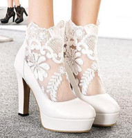 white lace wedding shoes - Sexy white lace wedding boots hollow out wedding pumps shoes bride shoes colors size to
