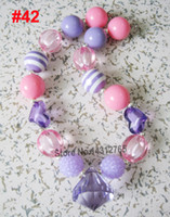 bubble gum necklace - DHL Kids Child lovely rainbow solid Beads Chunky Bubble gum Necklace