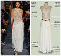 Wholesale 2014 Summer Elegant White Prom Dress Scoop Neck Chiffon Long Embroidery Lace Evening Dress Zipper Back Ruffle Ladies Work Dress Skirt Cheap