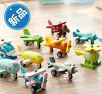 Wholesale wooden minicar toys airplane model aircraft series of twelve piece suit movable toy children gift educational toy
