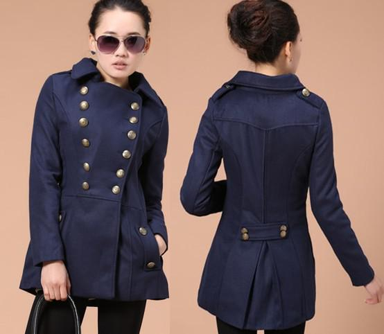 Women&39s Double-breasted Wool Coat/ Retro Military Style Jacket