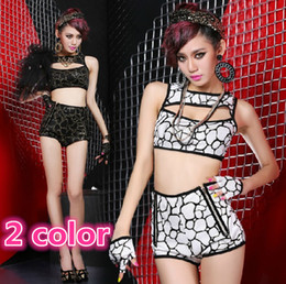 Wholesale 2014 Fashion Irregular Geometric Pattern Hollow Stitching Split Suits Show Clothing Party Girl Dancer DS Costumes Nightclub Stage Wear