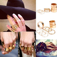 Cheap 9PCS Set Urban Punk Golden stack Plain Cute Above Knuckle Ring Band Midi Rings for Women Men Party Accessories