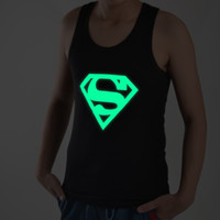 Wholesale Men luminous vest Superman nocturnal high elastic Lycra cotton vest Tank tops E025