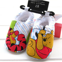 infant winter shoes - 2014 Autumn Winter Infant Baby Cartoon Pooh Tigger Printed Soft Shoes Prewalker Shoes Toddler Casaul Soft Sport Shoes pair White M0930
