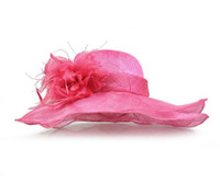 organza church hats - New Feathrer Women Church Wide Brim Hats Flower Sinamay Fabric With Organza Brim Spring Winter Dress Hat Sun Hat Sinamay Ribbon Summer Hat