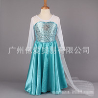 Cheap Wholesale-Kids Girls FROZEN New ELSA ANNA Skirts Long Sleeve Princess Dresses Yarn Cape Sequins Skirts Pary Evening Full Dresses Long Trail