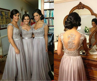 big grapes - Silver chiffon lace Custom made New Big Discount cap sleeves long Bridesmaid Dresses formal dresses with ribbon sash wedding party gown