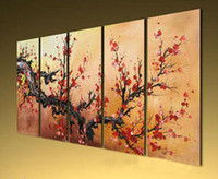 Cheap Abstract Oil Painting On Canvas Modern Art Sale Red Flower 5 Panels Wall Art Living Room Hotel Decoration Painting Wholesale