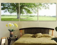Cheap Free Shipping Hot Sell 3 Panels Modern Wall oil Painting green tree art deco wall pictures Art Hand-painted on Canvas