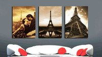 Cheap Free shipping 3 Piece Wall Art No Framed Modern Oil Painting On Canvas city impression Orient Colorful Prints 3pcs set