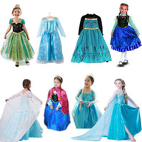 Wholesale Kids Costume Cosplay Party Fancy Chic Gown Dress Princess Frozen Elsa Anna Y