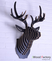 Wholesale iWood Deer Head Wall Animal Hangings Euro Style Home Decor Diy Wall Sculptures