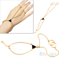 Cheap 2014 Hot Selling Fashion Stylish Punk Triangle Gold Alloy Chain Link Two Double Finger Bracelet Novelty Item