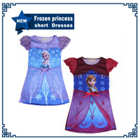 Hot sale children dress Anna Elsa Frozen princess short slee...