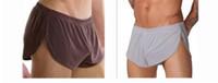 Wholesale OP Men s underwear comfortable boxers Sexy Aro loose silky Male panties shorts pants Side open pants men s panties