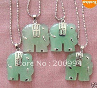 Cheap real jade jewelry 4Pcs Natural Green Jade Elephant Pendant Necklace 4pc lot free shipping free chain