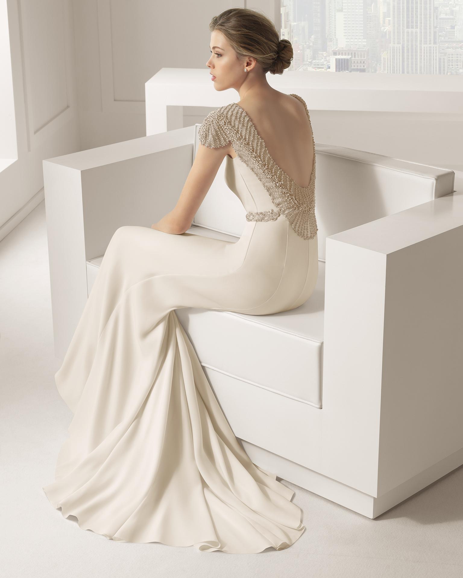 2015 Ivory Crepe Wedding Dress Sequins Sheath Simple ...