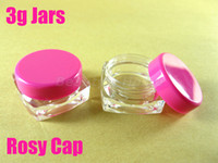 Wholesale 3g rosy cap square jars for cosmetic cream make up cosmetic jar refillable bottle Empty Bottle