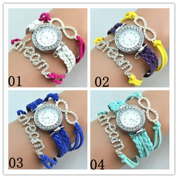 4 Color Leather Wrist watches Wrist Band Wrap Around Bracelets Watches Fashion Diamonds Dream Women Leather Bracelets Quartz Watches