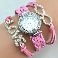 Wholesale Weave Leather Wrist watches Wrap Around Bracelet Watches Fashion Diamonds Love Women Leather Bracelet Quartz Watch Free Drop Shipping