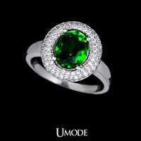 Cheap White Gold Plated Ring for Women with 1cm * 0.8cm Emerald Rare Earth Stone Women's Antique Vintage Big Stone Ring Umode UR0029