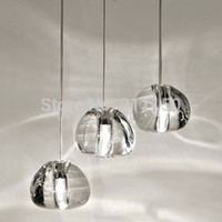 Wholesale 3 BULBS MODERN CLEAR GOLD CRYSTAL GLASS SPHERE BALL CHANDELIER MIZU HEADS PENDANT LIGHT CEILING LAMP WITH ROUND STAINLESS STEEL BASE