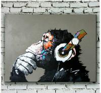Ручная роспись Известный Смарт мышление Шимпанзе Art Animal Картина маслом восходе Планеты Обезьян