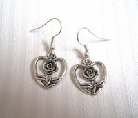 antique silver roses - Earring Antique silver LOVE HEART ROSE FLOWER Earrings NEW silver Fishhook Ear Wire ab16