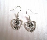 antique brass wire - Earring Antique silver LOVE HEART ROSE FLOWER Earrings NEW silver Fishhook Ear Wire ab16