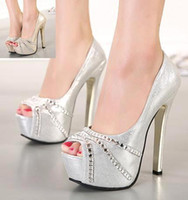 Cheap Gorgeous rhinestone wedding shoes sexy high heel platform pumps bridal heels silver gold prom dress shoes 14.5CM size 35 to 39