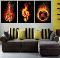 Cheap Free Shipping 3 panel wall art Modern Picture black and yellow style guitar for home decoration on Canvas Painting printed