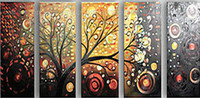 Cheap Abstract Oil Painting On Canvas Modern Art Sale Money tree 5 Panels Wall Art Living Room Hotel Decoration Painting Wholesale