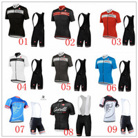 Wholesale Castelli Cycling Jersey Set Outdoor High Elastic Spandex Bicycle Wear Short Sleeve With Padded Pants White Blue Cycling Clothing