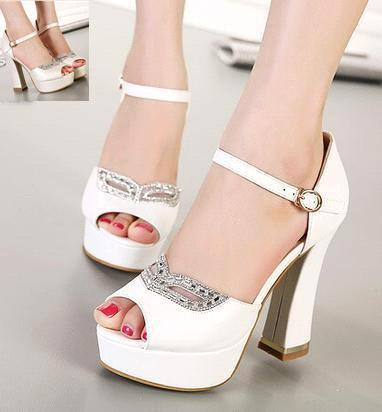 Rhinestone Fox Mask Bridal Heels White Heel Ivory Shoes