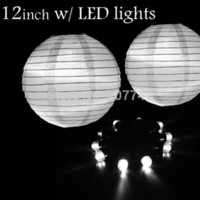 """Cheap 36 pcs lot 12"""" White Paper Lanterns with Led Lights Chinese Paper Lanterns for Wedding Party Decoration Festive Supplies"""