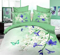 Cheap 3D Butterfly bedding set with flower floral purple 100% cotton queen size 4pcs bedspread bed in a bag sheet quilt