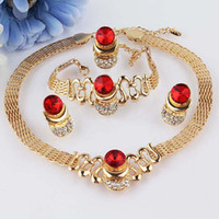 Wholesale New k Gold Filled Red Ruby Garnet Clear Austrian Crystal Necklace Bracelet Earring Ring Jewelry Set