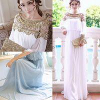 Cheap 2pcs lot 2014 luxury heavy beaded chiffon fancy dubai women kaftan abaya evening dress elegant long brand prom dress SV004810