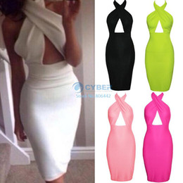 Wholesale 2014 Dropshipping M L XL HOT Fashion crossover V neck high waist cut out dress Party Dress Colors Sizes B003 SV004618