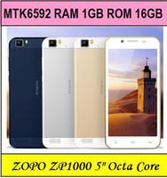 Cheap Wholesale - ZOPO ZP1000 Mtk6592 Octa Core Smart phone 5inch IPS Ultra Thin 5mp+14mp Camera 1.7GHZ CPU android 4.2 Dual sim OTG--free shippin