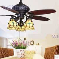 CE antique wood chandelier - 42 inch American rural countryside fan light beige ceiling fan light European antique vintage chandelier lamp living room dining Fan