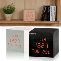 Wholesale Red LED digital wooden wood alarm clock desk desktop thermometer temperature voice sound activated home Clock b8 SV004516