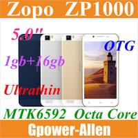 "Cheap Wholesale - 2014 new Ultrathin Original ZOPO ZP1000 MTK6592 octa core 5.0"" HD 1gb ram 16gb rom andriod 4.2 phone OTG 8mp gold in stock--free"