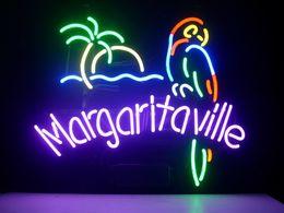 New Jimmy Buffett's Margaritaville Parrot Real Glass Neon Light Sign Beer Cocktails Pub Sign H956