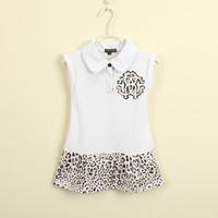 Wholesale Vintage Girls Summer Collar Cotton Sleeveless Leopard Print Sundress Princess Dress Tennis Dresses Girl Children Clothe White K0787