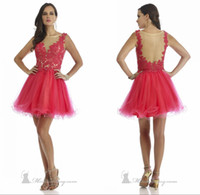Cheap Modern Style Short Girls Prom Dress Appliques Sheer Bateau Neck Sleeveless See Through Back A Line Homecoming Dress Party Gown Made In China